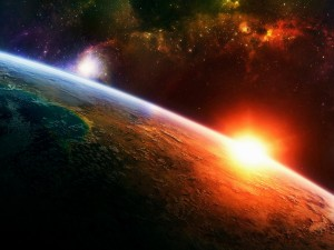 Espaço sol sobre a terra